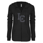 ENZA Ladies Black Light Weight Fleece Full Zip Hoodie-LC Graphite Soft Glitter