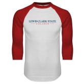 White/Red Raglan Baseball T Shirt-Lewis-Clark State College