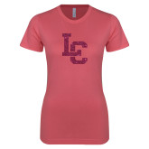 Next Level Ladies SoftStyle Junior Fitted Pink Tee-LC Hot Pink Glitter