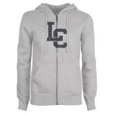 ENZA Ladies Grey Fleece Full Zip Hoodie-LC Graphite Soft Glitter