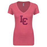 Next Level Ladies Vintage Pink Tri Blend V Neck Tee-LC Hot Pink Glitter