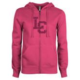 ENZA Ladies Fuchsia Fleece Full Zip Hoodie-LC Hot Pink Glitter