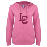 ENZA Ladies Hot Pink V Notch Raw Edge Fleece Hoodie-LC Hot Pink Glitter