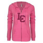 ENZA Ladies Hot Pink Light Weight Fleece Full Zip Hoodie-LC Hot Pink Glitter