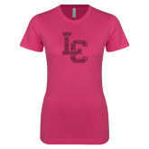 Ladies SoftStyle Junior Fitted Fuchsia Tee-LC Hot Pink Glitter