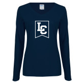 Ladies Navy Long Sleeve V Neck Tee-LC