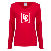 Ladies Red Long Sleeve V Neck Tee-LC
