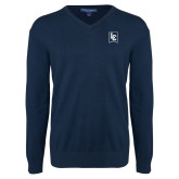Classic Mens V Neck Navy Sweater-LC