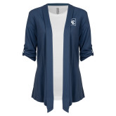 Ladies Navy Drape Front Cardigan-LC