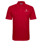 Red Textured Saddle Shoulder Polo-Primary Mark
