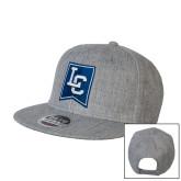 Heather Grey Wool Blend Flat Bill Snapback Hat-LC