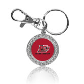 Crystal Studded Round Key Chain-Lion Head