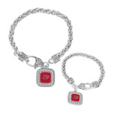 Silver Braided Rope Bracelet With Crystal Studded Square Pendant-Lion Head
