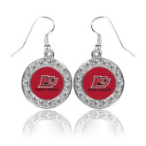Crystal Studded Round Pendant Silver Dangle Earrings-Lion Head