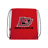Red Drawstring Backpack-Red Lions Logo