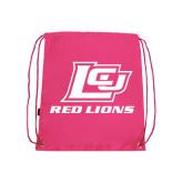 Pink Drawstring Backpack-Red Lions Logo