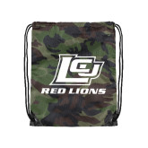 Camo Drawstring Backpack-Red Lions Logo