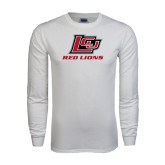 White Long Sleeve T Shirt-Red Lions Logo