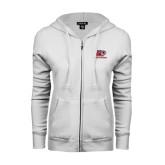 ENZA Ladies White Fleece Full Zip Hoodie-Red Lions Logo