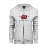 ENZA Ladies White Fleece Full Zip Hoodie-Combination Mark