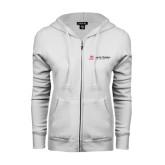 ENZA Ladies White Fleece Full Zip Hoodie-University Logo - Flat