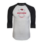 White/Black Raglan Baseball T-Shirt-Red Lions Baseball w/ Seams