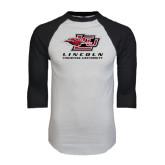 White/Black Raglan Baseball T-Shirt-Combination Mark Distressed