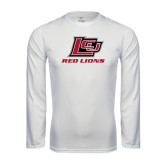 Performance White Longsleeve Shirt-Red Lions Logo