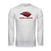 Performance White Longsleeve Shirt-Red Lions Stacked