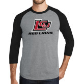 Grey/Black Tri Blend Baseball Raglan-Red Lions Logo
