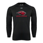 Under Armour Black Long Sleeve Tech Tee-Red Lions Stacked