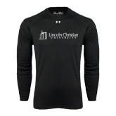 Under Armour Black Long Sleeve Tech Tee-University Logo - Flat