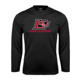 Performance Black Longsleeve Shirt-Red Lions Logo