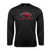 Performance Black Longsleeve Shirt-Red Lions Stacked