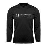 Performance Black Longsleeve Shirt-University Logo - Flat