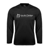Syntrel Performance Black Longsleeve Shirt-University Logo - Flat