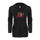 ENZA Ladies Black Light Weight Fleece Full Zip Hoodie-Red Lions Logo