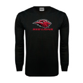 Black Long Sleeve TShirt-Red Lions Stacked