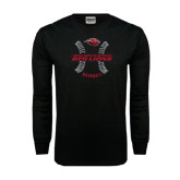 Black Long Sleeve TShirt-Red Lions Baseball w/ Seams