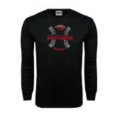 Black Long Sleeve TShirt-Red Lions Baseball w/ Seams
