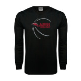 Black Long Sleeve TShirt-Lincoln Christian Basketball w/ Contour Lines