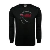 Black Long Sleeve TShirt-Lincoln Christian Basketball w/ Contour Lines