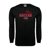 Black Long Sleeve TShirt-Red Lions Soccer Swoosh