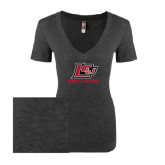 Next Level Ladies Vintage Black Tri Blend V-Neck Tee-Red Lions Logo