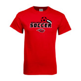 Red T Shirt-Red Lions Soccer Swoosh