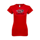 Next Level Ladies SoftStyle Junior Fitted Red Tee-Combination Mark