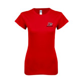 Next Level Ladies SoftStyle Junior Fitted Red Tee-Red Lions Logo
