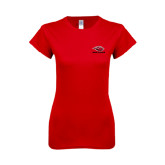 Next Level Ladies SoftStyle Junior Fitted Red Tee-Red Lions Stacked