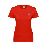 Ladies Red T Shirt-Red Lions Logo