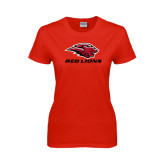 Ladies Red T Shirt-Red Lions Stacked
